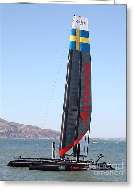 Americas Cup Greeting Cards - Americas Cup in San Francisco - Sweden Artemis Racing Red Sailboat - 5D18249 Greeting Card by Wingsdomain Art and Photography