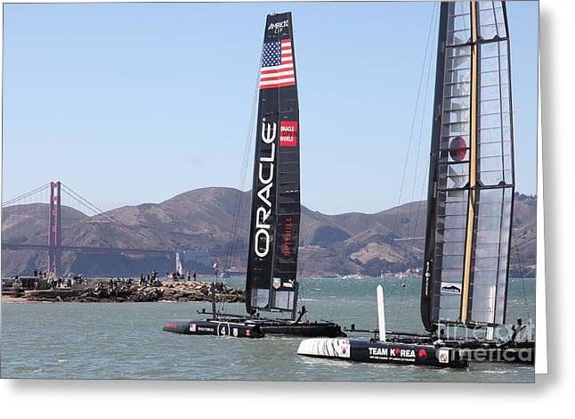 Americas Cup Greeting Cards - Americas Cup Racing Sailboats in The San Francisco Bay - 5D18242 Greeting Card by Wingsdomain Art and Photography