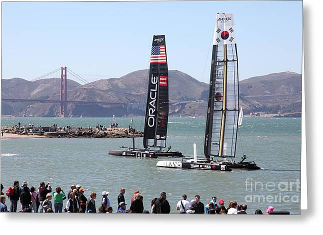 San Francisco Bay Bridge Greeting Cards - Americas Cup Racing Sailboats in The San Francisco Bay - 5D18253 Greeting Card by Wingsdomain Art and Photography