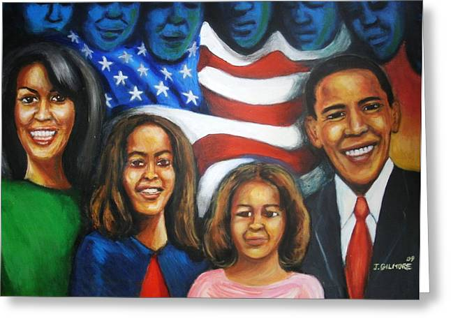 Michelle Obama Paintings Greeting Cards - Americas First Family Greeting Card by Jan Gilmore