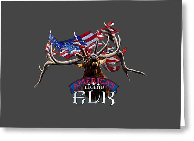 4th July Drawings Greeting Cards - Americas legend Elk Greeting Card by Rob Corsetti