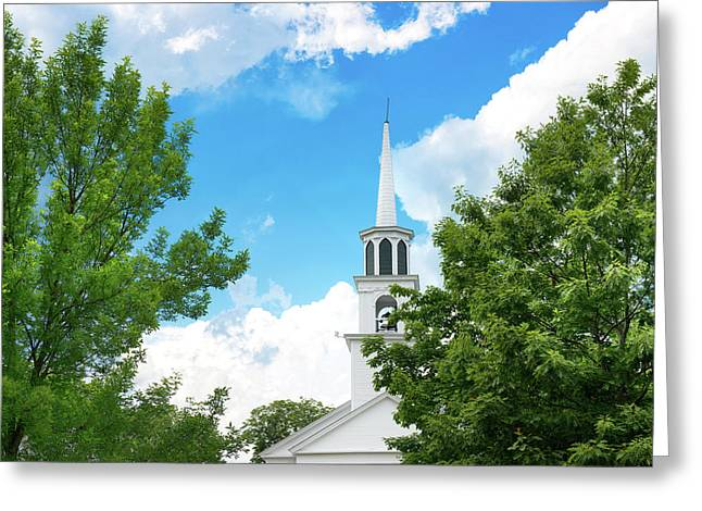 Amesbury Greeting Cards - Amesbury  church steeple and beautiful blue sky Greeting Card by Thomas Logan