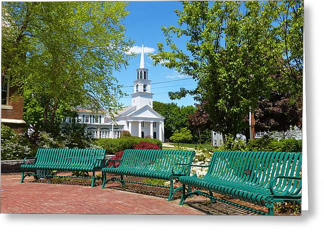 Amesbury Greeting Cards - Amesbury Green Benches and Steeple Greeting Card by Christine Green