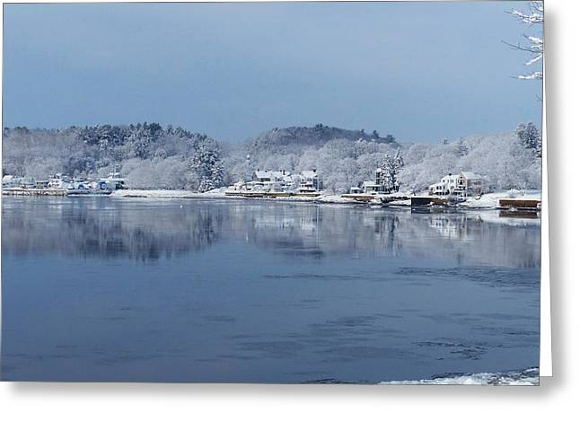 Amesbury Greeting Cards - Amesbury Snowy Shoreline Greeting Card by Christine Green