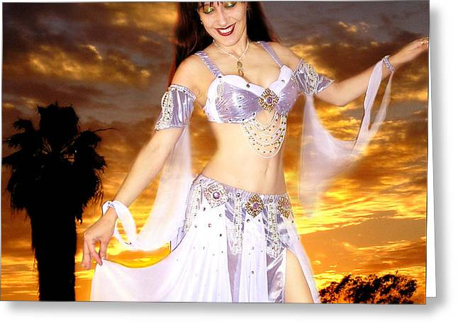 Sunrises Jewelry Greeting Cards - Ameynra Belly Dance fashion by Sofia Metal Queen. Lilac 01 Greeting Card by Sofia Metal Queen