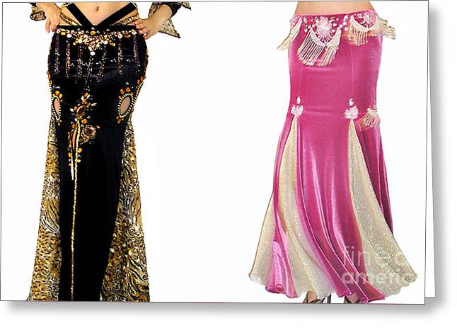 Ameynra Belly Dance Fashion Skirt Samples. Black, Pink Greeting Card by Sofia Goldberg