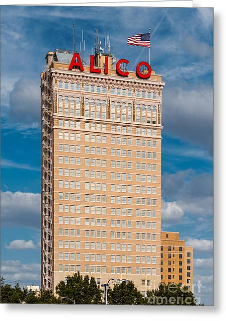 Amicable Life Insurance Company Building In Downtown Waco Texas Greeting Card by Silvio Ligutti