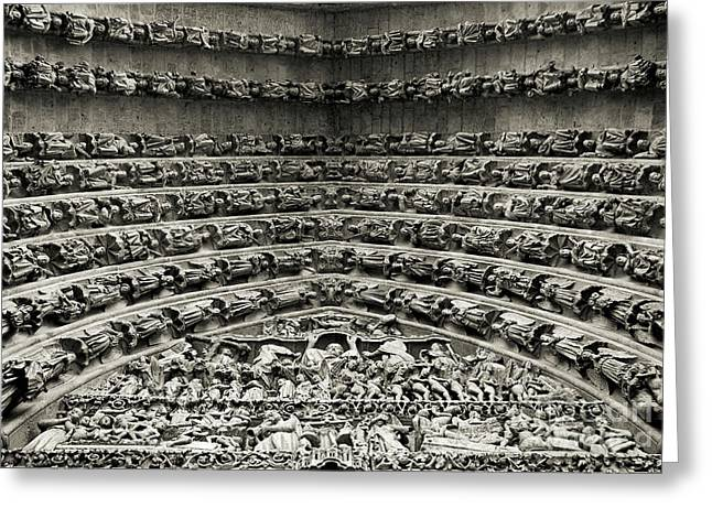 Amiens Cathedral - Tympanum Of Central West Portal Bw Greeting Card by RicardMN Photography