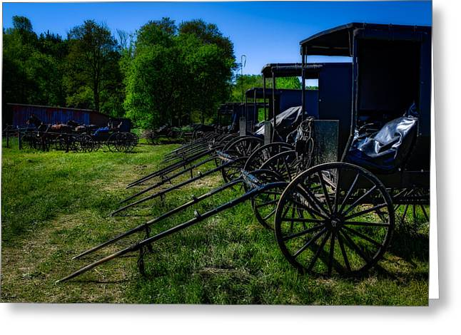Amish Greeting Cards - Amish Auction Day Greeting Card by Chris Bordeleau