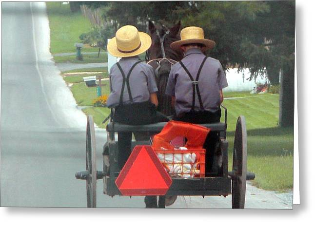 Suspenders Greeting Cards - Amish Boys On A Ride Greeting Card by Lori Seaman