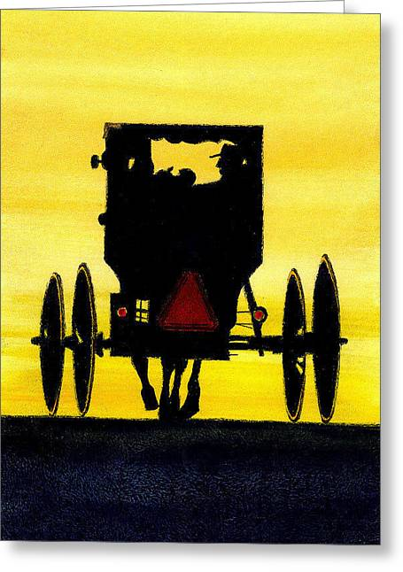 Amish Family Mixed Media Greeting Cards - Amish Buggy at Dusk Greeting Card by Michael Vigliotti