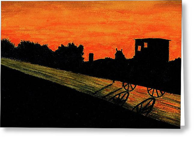 Amish Farms Paintings Greeting Cards - Amish Buggy at Sunset Greeting Card by Michael Vigliotti