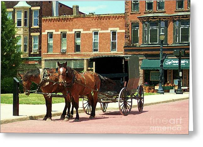Amish Mixed Media Greeting Cards - Amish Buggy Greeting Card by Desiree Paquette