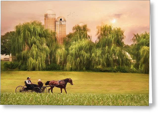 Amish Farms Mixed Media Greeting Cards - Amish Buggy Ride Greeting Card by Lori Deiter