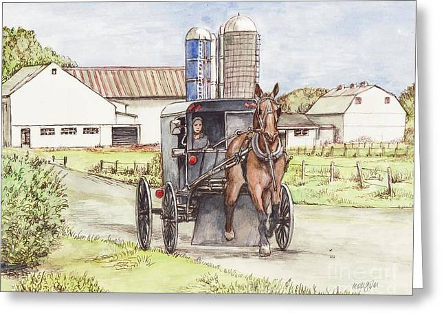 Amish Farm Greeting Cards - Amish Farm Horse and Buggy Greeting Card by Morgan Fitzsimons