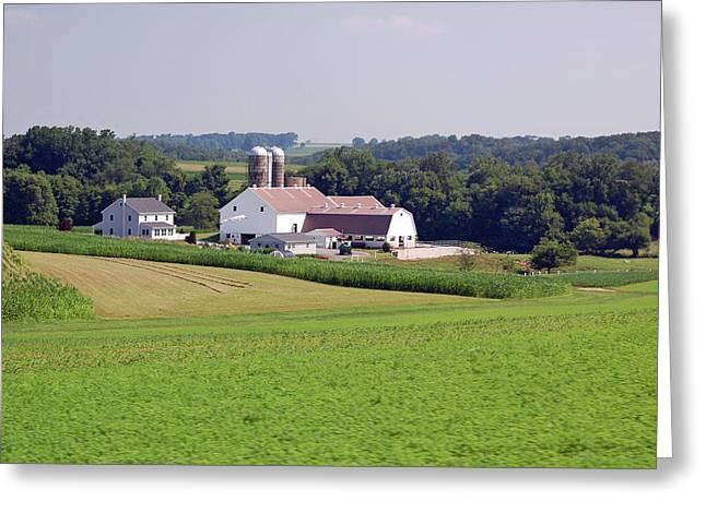 Amish Farm Greeting Card by Joyce Huhra