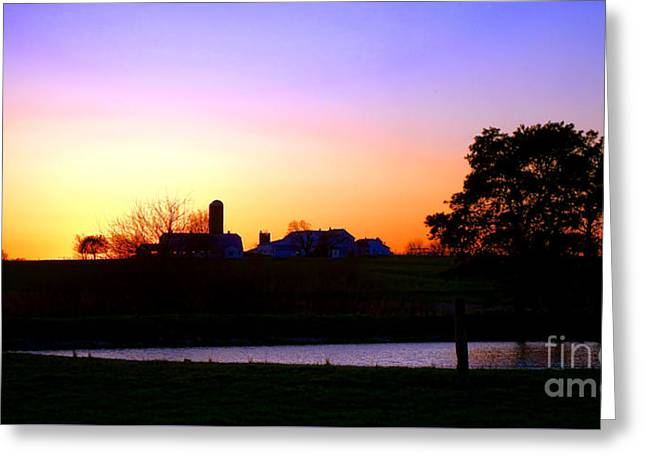 Amish Farm Sunset Greeting Card by Olivier Le Queinec