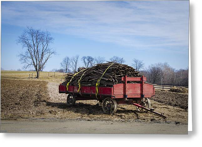Amish Farm Greeting Cards - Amish Farm Wagon - Lancaster County Pennsylvania Greeting Card by Bill Cannon