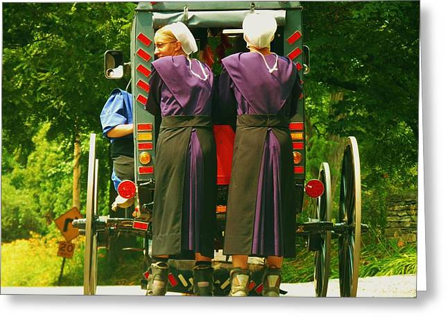 Roller Blades Greeting Cards - Amish Girls on Roller Blades Greeting Card by Jeanette Oberholtzer