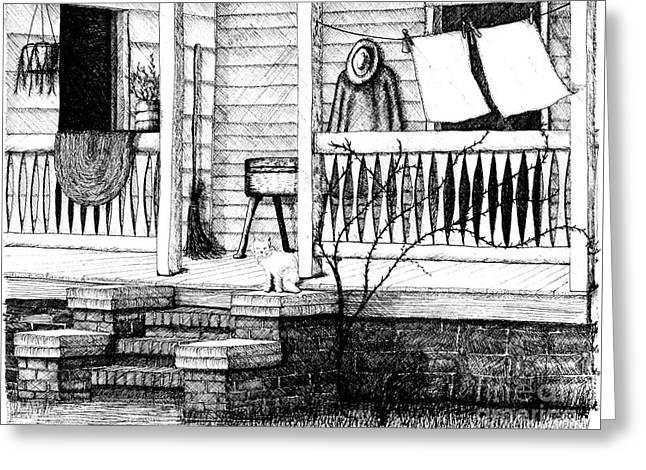 Amish Homestead Back Porch Greeting Card by Dawn Boyer