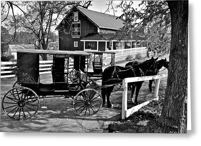 Amish Horse And Buggy In Black And White Greeting Card by Frozen in Time Fine Art Photography