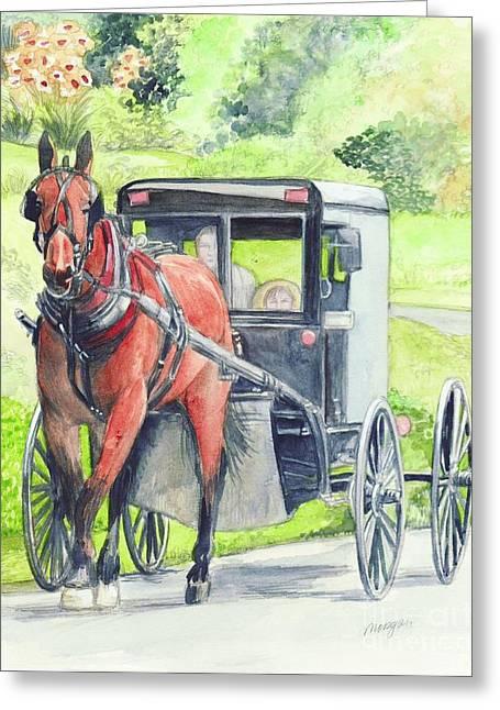 Amish Mixed Media Greeting Cards - Amish Horse and buggy Greeting Card by Morgan Fitzsimons