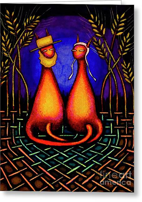 Amish Kats Greeting Card by Laurie Tietjen