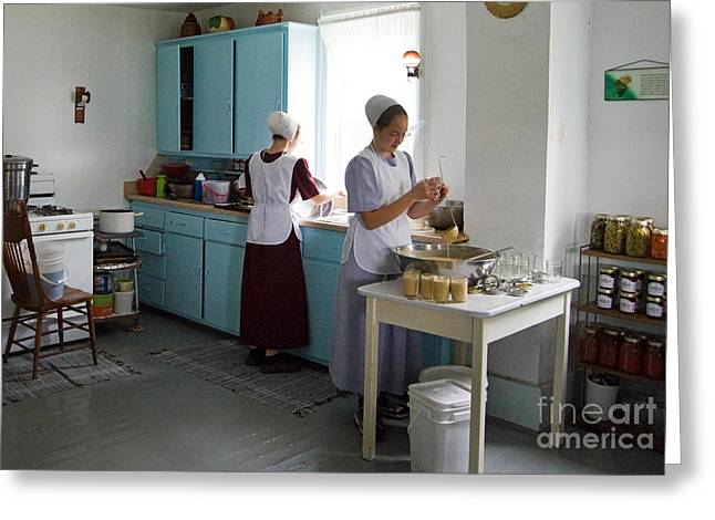Amish Farms Greeting Cards - Amish Kitchen Greeting Card by Fred Lassmann