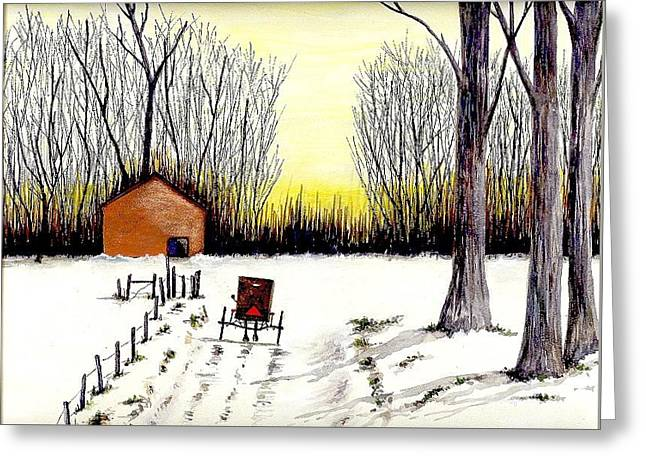 Amish Paintings Greeting Cards - Amish Winter Scene Greeting Card by Michael Vigliotti