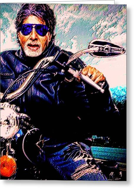 Greatest Of All Time Greeting Cards - Amitabh Bachchan - Living Legend Greeting Card by Piety Dsilva
