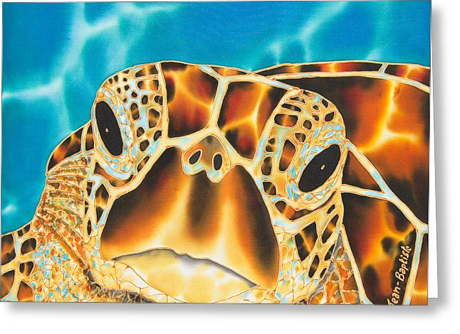 Silk Art Tapestries - Textiles Greeting Cards - Amitie Sea Turtle Greeting Card by Daniel Jean-Baptiste