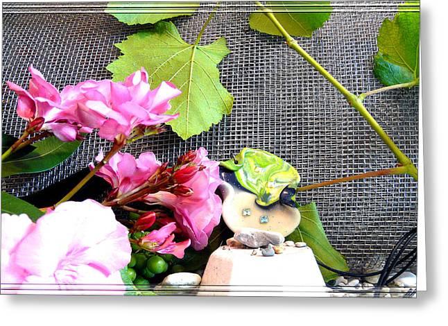 Among Leaves and Flowers Greeting Card by Chara Giakoumaki