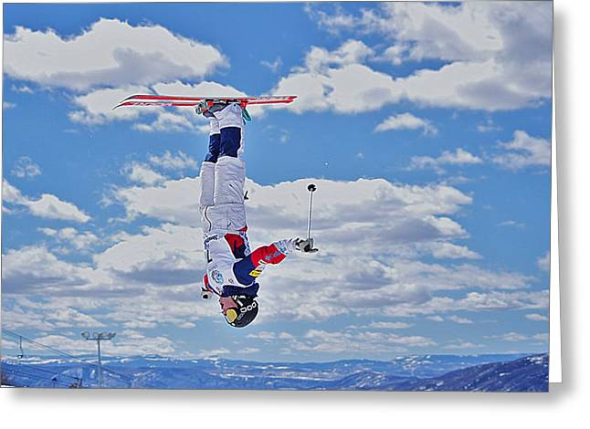 Freestyle Skiing Greeting Cards - Among the Clouds Greeting Card by Matt Helm