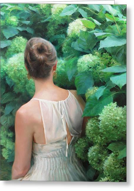 Among The Hydrangeas Greeting Card by Anna Rose Bain