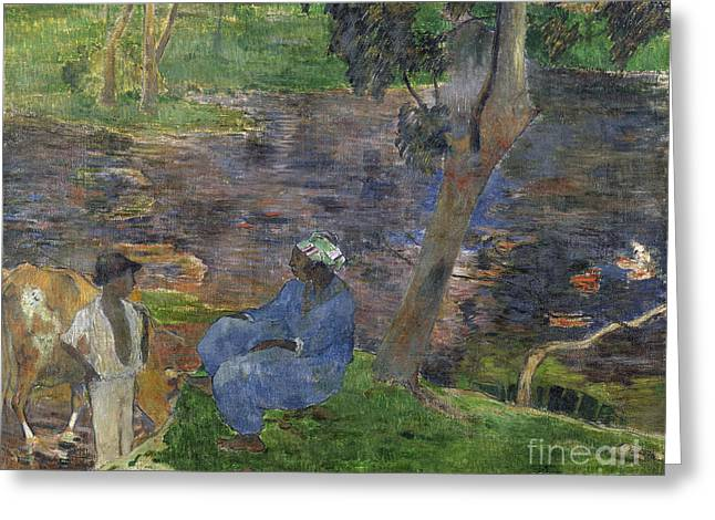 Vintage Painter Greeting Cards - On the shore of the lake at martinique Greeting Card by Gauguin