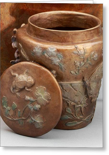 Nature Reliefs Greeting Cards - Among the Sagebrush - bronze vase with lid Greeting Card by Dawn Senior-Trask