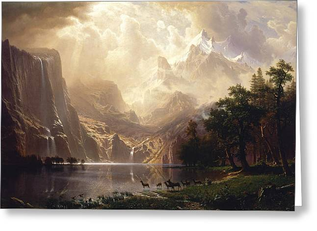 Landscape Painter Greeting Cards - Among the Sierra Nevada Greeting Card by Albert Bierstadt