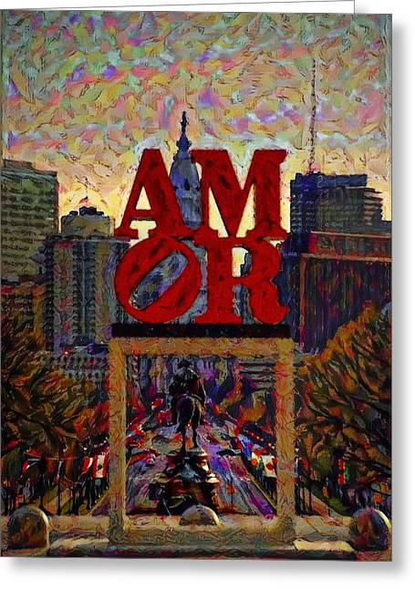 Amor In Mirror - Philadelphia Greeting Card by Bill Cannon