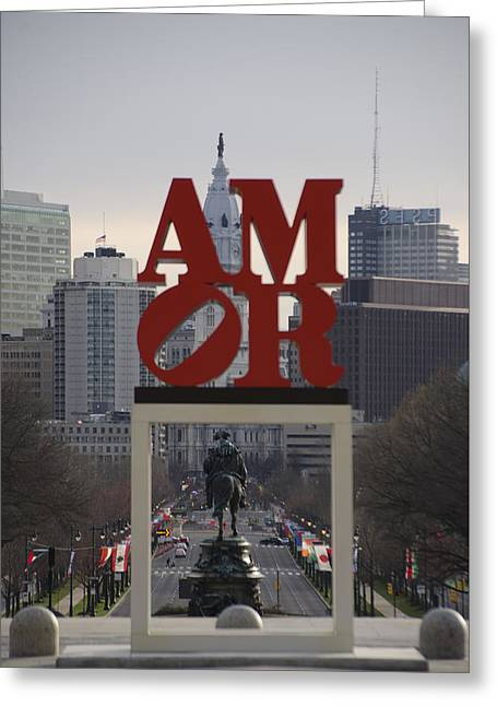 Amor - Philadelphia In Mirror Greeting Card by Bill Cannon