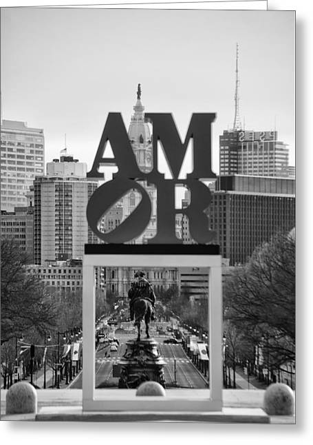 Amor - Philadelphia In Mirror In Black And White Greeting Card by Bill Cannon