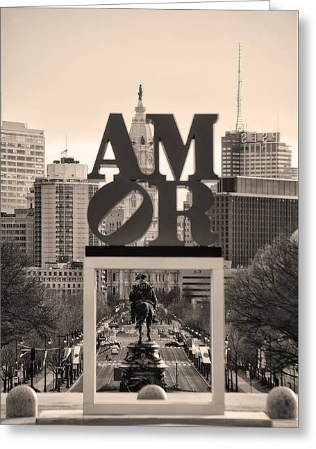 Amor - Philadelphia In Mirror In Sepia Greeting Card by Bill Cannon