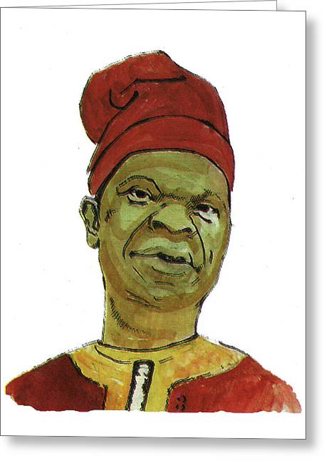 Emmanuel Baliyanga Greeting Cards - Amos Tutuola Greeting Card by Emmanuel Baliyanga