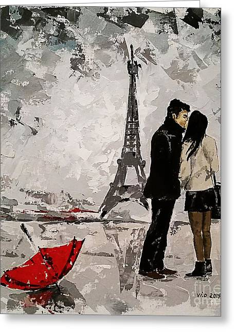 Recently Sold -  - First Love Greeting Cards - Amour A Paris Greeting Card by Violeta Oprea