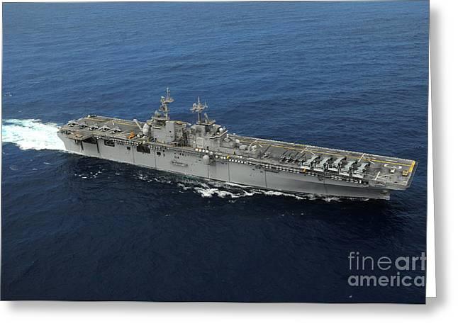 Amphibious Assault Ship Uss Kearsarge Greeting Card by Stocktrek Images