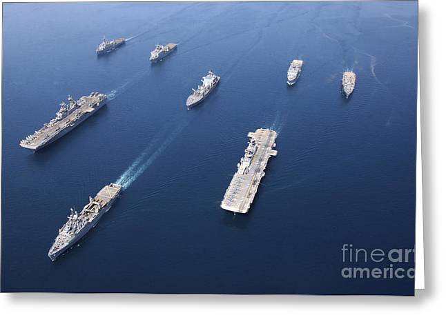 Strike Group Greeting Cards - Amphibious Task Force-west In Formation Greeting Card by Stocktrek Images