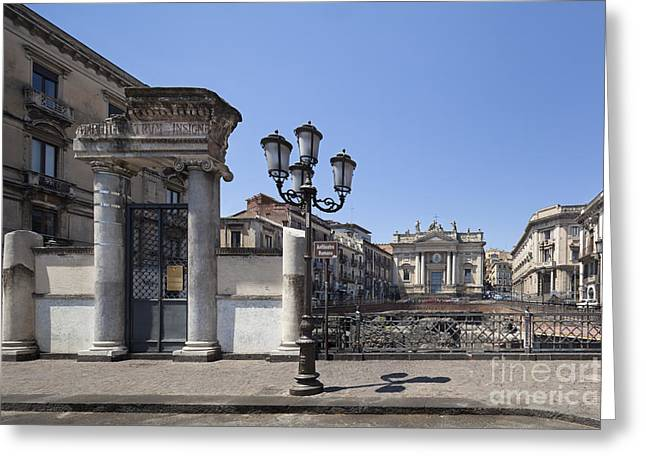 Sicily Greeting Cards - Amphitheater at Piazza Stesicoro Greeting Card by Wolfgang Steiner