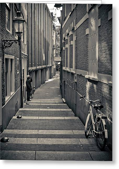 Monochrome Greeting Cards - Amsterdam Greeting Card by Adam Romanowicz