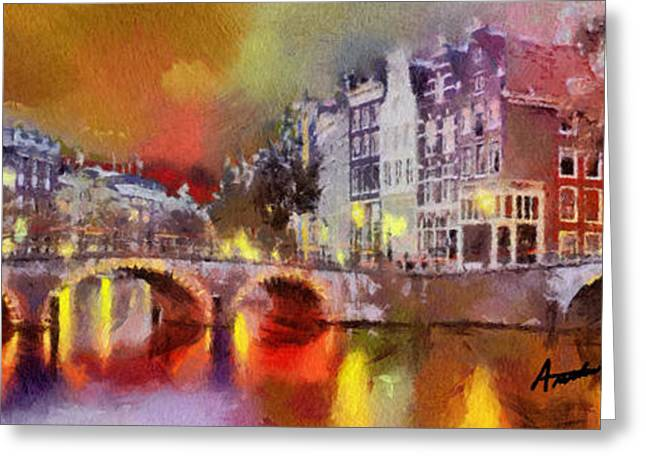 City Canal Greeting Cards - Amsterdam At Night Greeting Card by Anthony Caruso