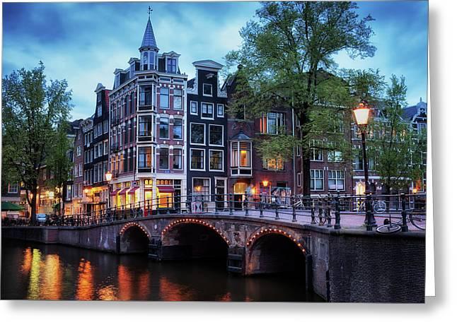 Amsterdam At Twilight Greeting Card by Artur Bogacki