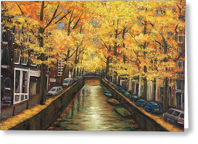 Yellow Trees Greeting Cards - Amsterdam Autumn Greeting Card by Johnathan Harris